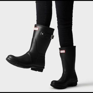 🆕 Hunter Women's Short Rain Boots Matte BLK